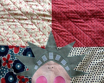 Lady Liberty Quilted Table Runner, Americana, Red White Blue Decoration