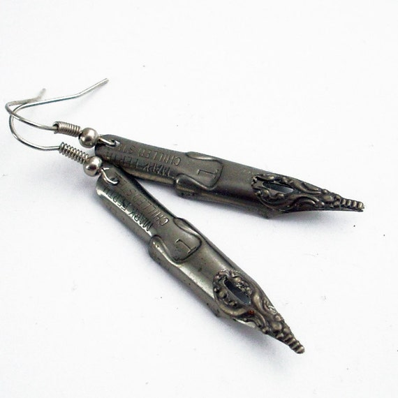 Remembering - Vintage Pen Nibs - Intricate Bronze on Steel Earrings Jewelry