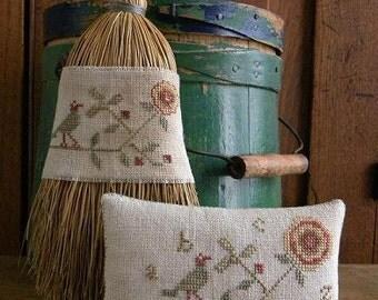 Primitive Cross Stitch Pattern - Cottage Rose