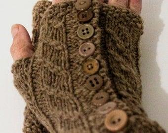 Handknit fingerless mittens