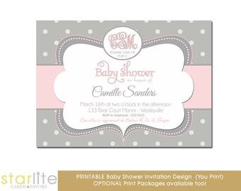 Pink + Gray Monogram Baby Shower Invitation, Pink + Gray Baby Shower Invitation Girl, Baby Sprinkle Invite, Printable or Printed Invitations