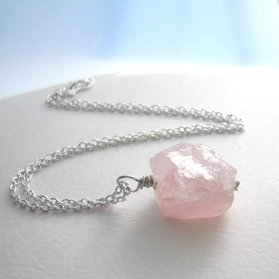 Raw Rose Quartz Pendant, Semi Precious Gemstone Necklace, Pink Crystal