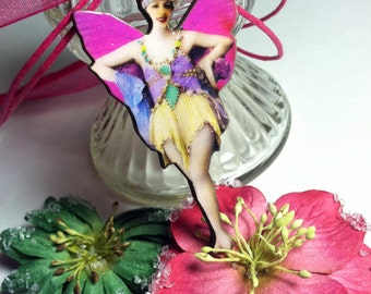 Marie Winged Ballerina Fairy Handmade Wood Shimmer Pendant Necklace - Hot Pink, Purple & Green