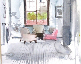 Watercolor painting-Day Dreaming in the Corner by Gretchen Kelly