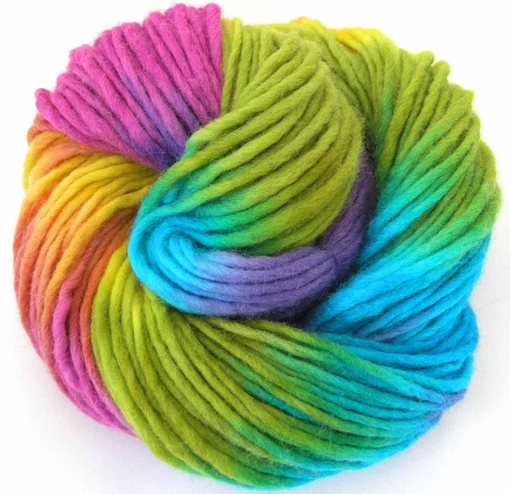 Bulky Yarn Hand Dyed Bulky Wool Yarn Spring by FiberFusion
