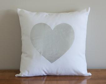 Silver Foil Heart Cushion