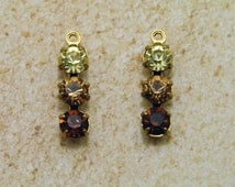 2 pc 19x5mm dangles - Vintage Swarovski Smoked Topaz, Lt Colorado Topaz & Jonquil rhinestones prong set in brass 1 ring - diy earrings ombre