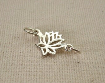Sterling Silver Lotus Flower Connector 20mm  - 1 piece