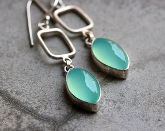 Aqua earrings - Chalcedony earrings - Aqua blue earrings - bridal jewelry - wedding - Christmas gift idea