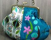 Pod Evening Bag - Purse - Birds - Flowers - Metal Clip Frame - Kiss Lock Frame - Chain Handle - Teal - Pink - Green - Brown - Cream