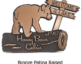 Bear Cub Cottage Plaque Name or Welcome Signs Custom 16x12 inches