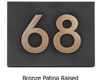 2 NUMBERs Modern Neutraface Address Plaque 9.5 x 7 inches for 2 House Numbers
