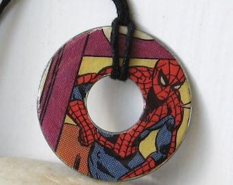 SPIDER-MAN Vintage Comic Book Upcycled Washer Hardware Pendant Necklace Marvel Comic Books