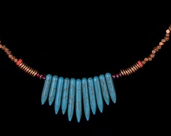 Turquoise, Amethyst and Coral Fringe Necklace