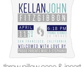 Birth announcement pillow footprints new baby gift custom generic infant footprints throw pillow