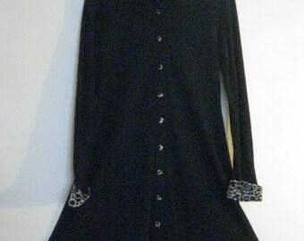 Leopard Accents Knit Tunic Dress Black Vintage