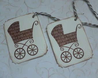 Baby carriage gift tags handstamped baby shower favor tags boy or girl baby shower favor tags vintage style  - set of 6