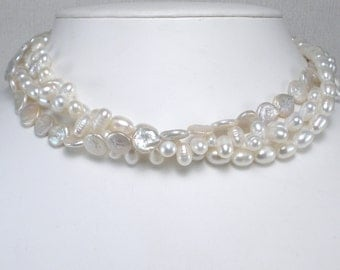 Large White Pearl MultiStrand Necklace White Pearl Torsade Multistrand Bridal Pearls Chunky Pearl Necklace Freshwater Pearls Big Pearls