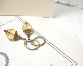 Sale, Honey gold crystal earrings brass czech glass dangle pamelasjewelry