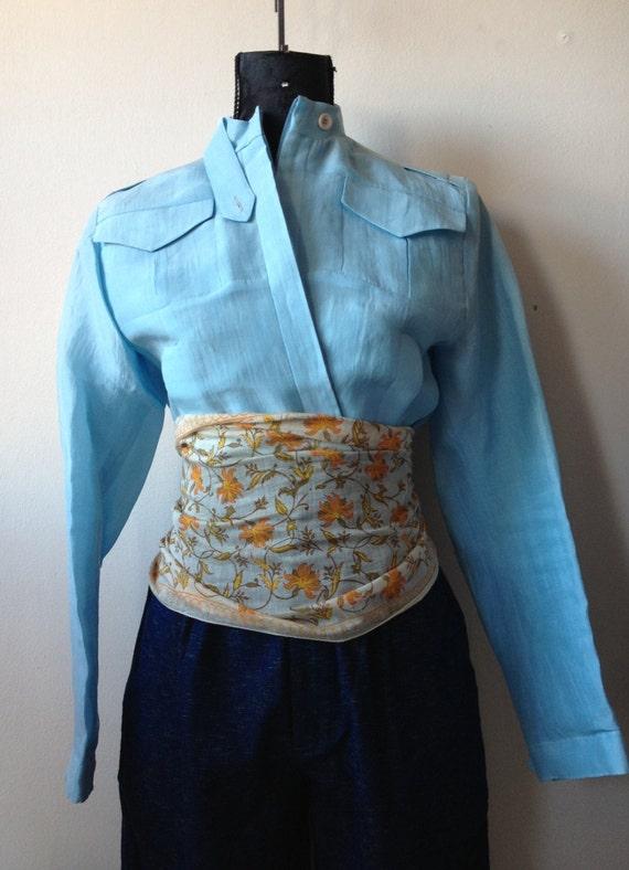 Silk orange yellow sheer shawl belt flowers spring hand rolled handmade stamps