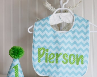 Aqua and Lime Hat and Bib Set or Aqua and Red hat and bib set - Bithday Cake Smash Outfit