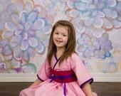 Girls Pink Dress - Mulan Dress - Mulan Costume - Kimono Dress  - Mulan Birthday - Toddler Kimono - Little Girl Dresses - Sizes 2T to 7