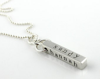 Four-Sided Personalized Sterling Silver BAR Necklace