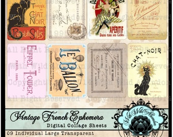 Vintage French EphemeraTag Set  ACEO Size, ATC, Pocket Journal Cards, Gift Tags, Clipart Tags