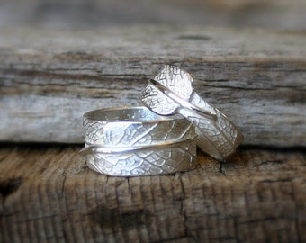 You and I...His and Hers Sage Leaf Bands in Reclaimed Sterling Silver...Wedding, Marriage, Promise, Engagement, Commitment