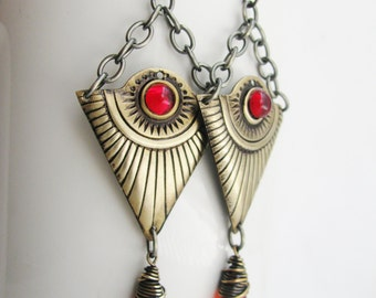 Funky Egyptian Golden Ray Earrings with Red Magma Swarovski Crystal Diamonds.