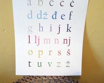 Croatian Alphabet Art Print - 11x14
