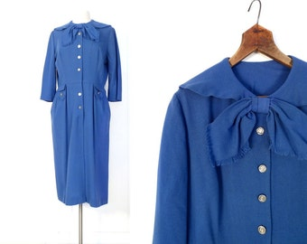 1950s Blue Dress / Cornflower Blue Dress / 50s Dress / Bow Dress / Large L