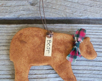 Rustic Grubbied Salt Dough Bear Christmas Tree Ornament, Country Cabin Christmas Decoration,Woodland,Forest,Lodge Decor,Grizzly,Sportsman