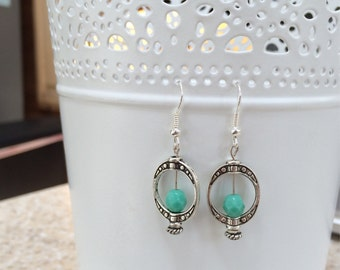 Silver Metal and Mint Beaded Earrings