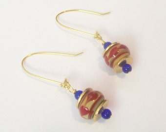 YELLOW BLUE & RED Drop Earrings - World Flags Venezuela South America