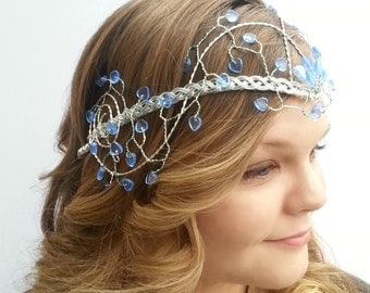 Sapphire and Ice Blue Elven Princess Wedding Headdress Tiara