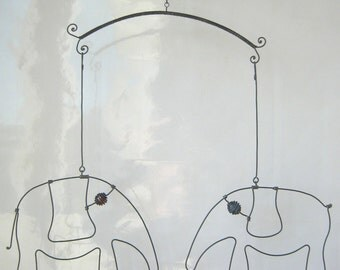 Mobile Sculpture / Two Wire Elephants