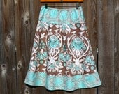 Antler Damask A-Line Skirt, New Joel Dewberry Birch Farm Line, Antler Damask in Burlap, Semi Gathered A-line Skirt, Hip Sizes 30-56 inches