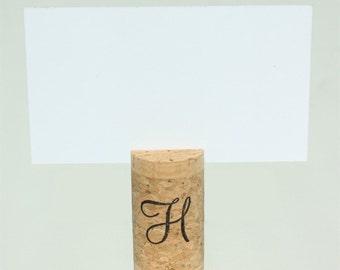 Top Slit, Single Vertical Wine Cork Place Card Holder - Single Initial