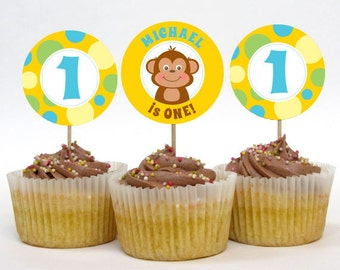 Personalized Monkey Party Cupcake Toppers – 2 Inch Circles – DIY Printable – Monkey Boy (Digital File)