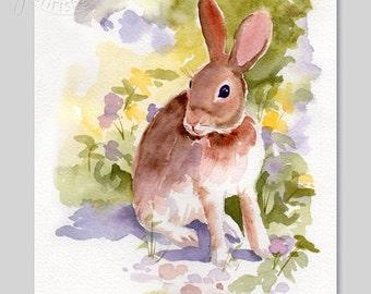 Children Art - Bunny Rabbit Wild Hare Pansies Watercolor Painting with custom matting