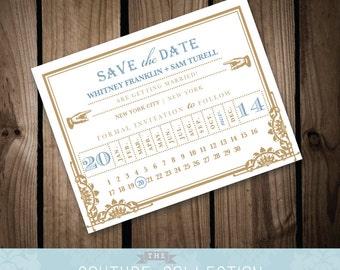 Art Deco Ticket - SAVE the DATE card - Vintage, Art Deco Train Ticket (Customizable) Printable DIY Wedding Invitation Digital File
