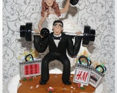 Weight lifting Groom with Bride on Barbells, Dumbells, Wedding Cake Topper, Personalized