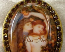 Temptation Adam & Eve Serpent Porcelain Cameo Vintage Ephemera Locket Solid Red Brass Chain Necklace Smoky Topaz Glass Rhinestones Miss-art