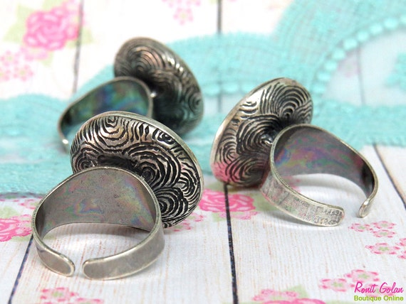 Silver Round Ring Blank concave setting for  21mm round cab , Adjustable band, oxidized rustic , Cocktail ring base , Sterling Silver plated