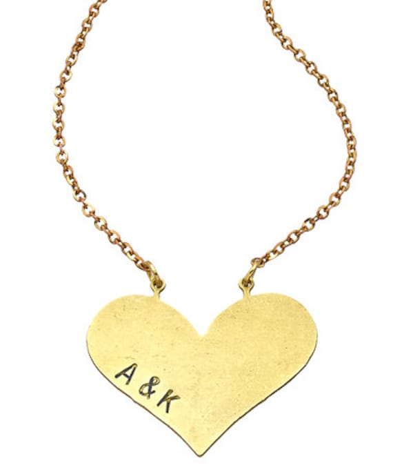 Personalized heart // necklace Valentine's Day Gift