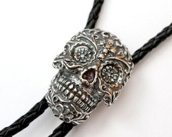Silver Sugar Skull Bolo Tie Necklace - Day of the Dead 356