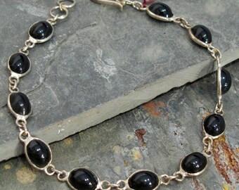 """Bracelet: Bold Black Onyx and Sterling Silver - 8"""" - B14"""