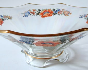 Octagon Footed Floral Serving Bowl Gold Trim Opalescent Glass Collectible Centerpiece