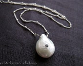 Single Pearl Necklace with Blue Topaz on Sterling Silver